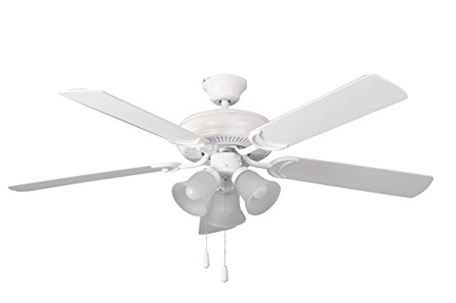 Litex E-DCF52MWW5C3 Decorator's Choice 52-Inch Ceiling Fan with Five Matte White Blades and Three Light Kit with Frosted Glass