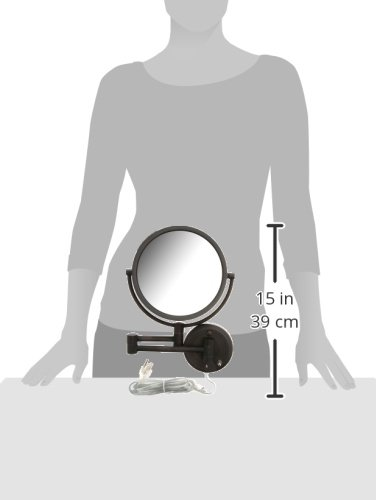 Jerdon HL75BZ 8.5-Inch Lighted Wall Mount Makeup Mirror with 8x Magnification, Bronze Finish