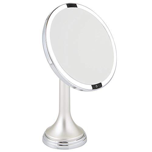 mDesign Modern Motion Sensor LED Lighted Makeup Bathroom Vanity Mirror, Large 8