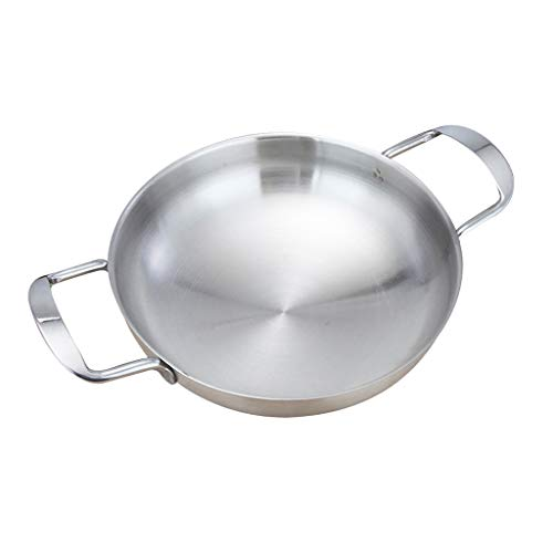 (Fityle Spanish Style Paella Pan Seafood Stainless Steel Korean Fried Chicken Rice Cooker Kitchen Cooking Tools, Camping Outdoor - Silver 18cm)