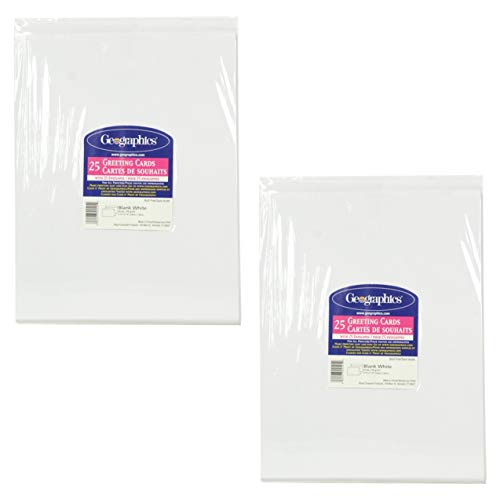 Geographics Greeting Cards - Geographics 25-Count White Half-fold Greeting Cards 8.5