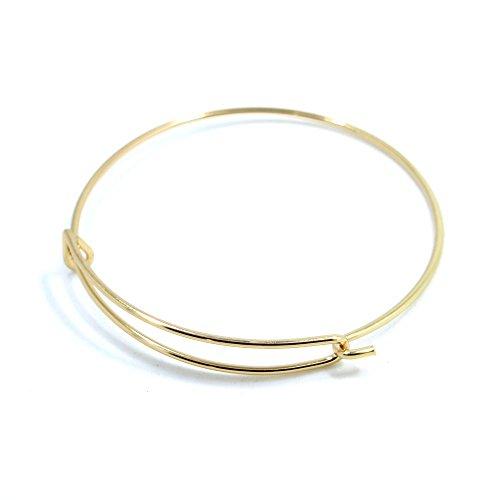 5pcs Shiny Gold Expandable Wire Bangle Bracelet for Charms Adjustable for Stacking Charm Bracelets Bracelet Blanks