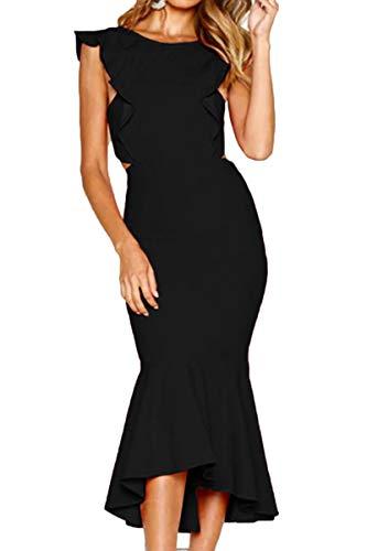 QINSEN Women Evening Dress Elegant Round Neck Ruffle Sleeveless Bodycon Bandage Mermaid Dresses Black S ()