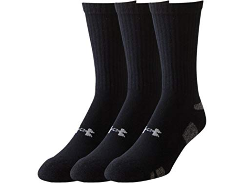 (Under Armour Men's HeatGear Crew Socks (2 PK (6 Pairs) Large, Black))