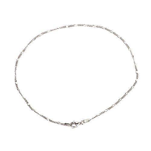 925 Sterling Silver 1.50 mm Diamond-Cut Figaro Bracelet Chain with Pear Shape Clasp-Rhodium ()