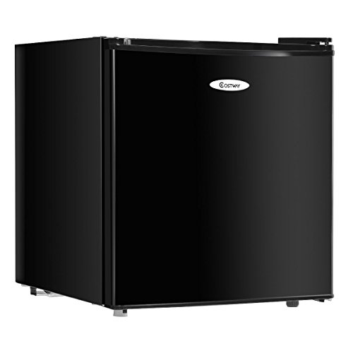 Costway Compact Stainless Steel Refrigerator and Freezer With Single Door Cooler Fridge,1.7 Cubic Feet,Unit,Black