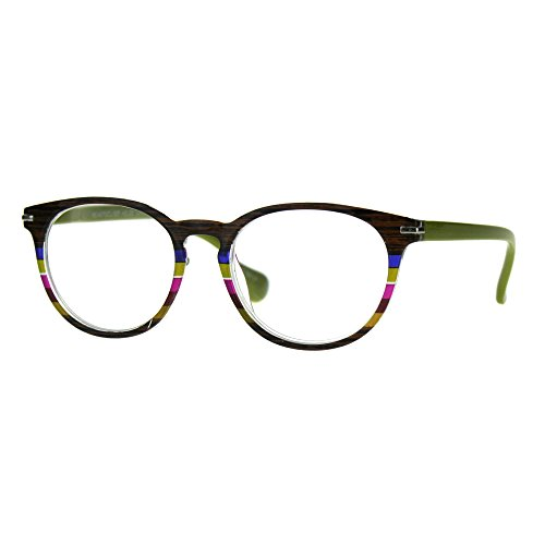 Womens Keyhole Horn Rim Round Thin Reading Glasses Brown Green 2.5
