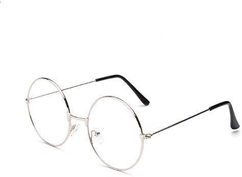 Rosenice - Gafas de sol redondas estilo retro, unisex, lentes transparentes, ultra ligeras para cosplay (plateadas)