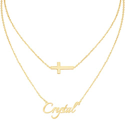 Custom4U Personalized Name Necklace Custom Made Pendant Jewelry Gift for Women (Layered Necklace-Cross)