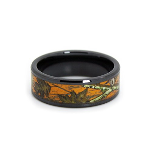 #1 Camo Blaze Orange Camo Bands - Black Rings - Hunting Orange Camouflage Wedding Rings - Ring Size 10]()