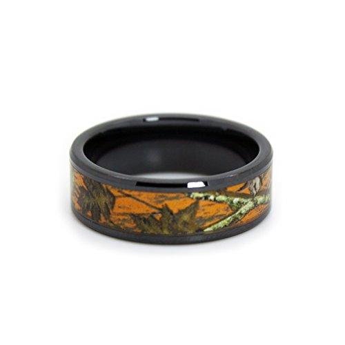 #1 Camo Blaze Orange Camo Bands - Black Rings - Hunting Orange Camouflage Wedding Rings - Ring Size 9