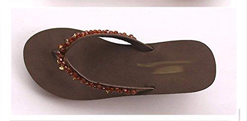 SCLOTHS Tongs Femme Chaussures Pente antidérapante fond épais plage talon haut Brown xD5ni
