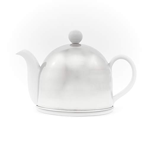 Insulated Porcelain Teapot by Teaazi (Stainless Steel)