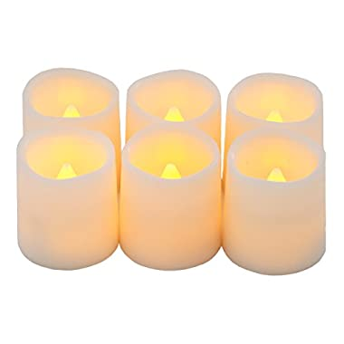 Timer Flameless Candles By Festival Delights® - Premium IC-controlled Soft Flickering Votive Battery Operated Candles, 70+ Hours of Lighting, 5-Hours-Cycle Timer, Battery cells included, Dia. 1.5 x1.75  Height, LED Candles, Flameless Candle Set, Votive Candles, Wedding Decor (Timer)