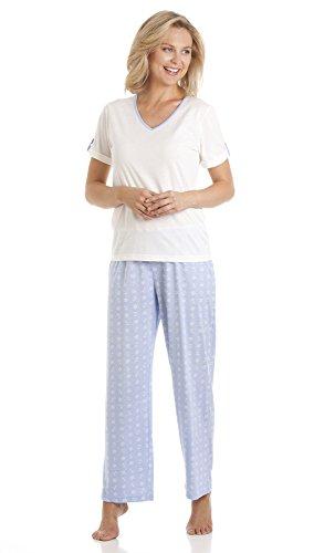 Diseño de sifón sea para mujer diseño de ancla 2 piezas Juego de pijama de colores de tamaño completo pijama pantalones y tamaño de la funda de manga corta para niña - pequeño-Extra-tamaño grande azul claro