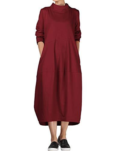 Imprimée Femmes Latérales Robe bourgogne Tunique Style Asymétrique Poches Nouveau 1 Vogstyle Vintage HI2W9YED