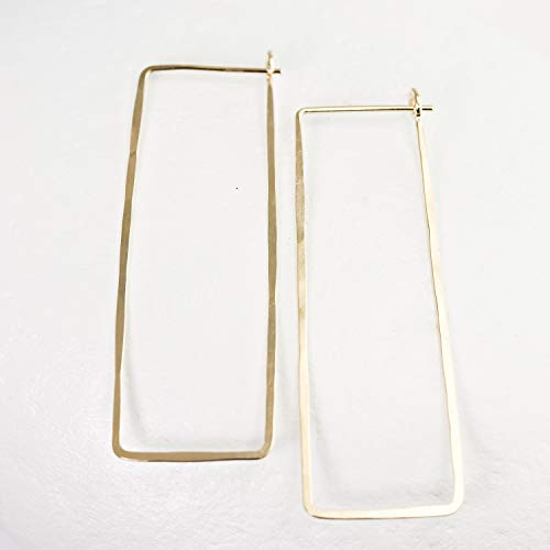 (Hammered Gold Rectangle Hoop Earrings)