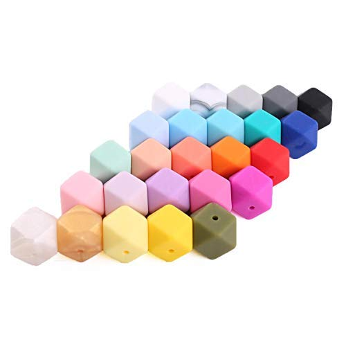 DIY Necklace/Bracelet Accessory Baby Teething Beads DIY Silicone Beads for Teether Mix Color 50pcs Large 17mm Geometric/Hexagon BPA Free Safe Infant Charms