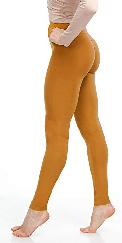 LMB Lush Moda Women's Basic Leggings with Yoga Waist- Extra Soft and Variety of Colors - Mustard