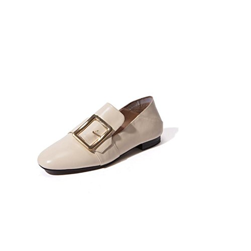 Quadrato donne fibbia scarpe singolo genuino in pelle libero Slip retrò su scarpe piatte , pink , 39 CREAMYWHITE-35