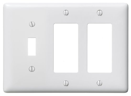 Bryant Electric NP1262W 3-Gang 1 Toggle 2 Decorator/GFCI Wall Plate, White