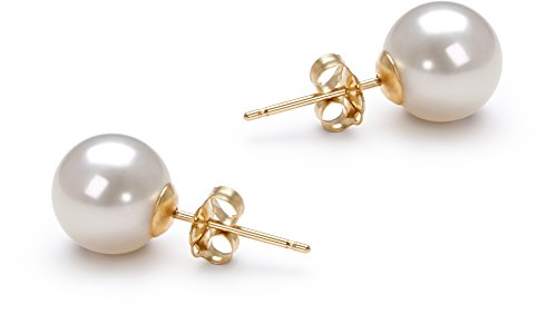 PearlsOnly - White 7-8mm AAAA Quality Freshwater 14K Yellow Gold Cultured Pearl Earring Pair by PearlsOnly