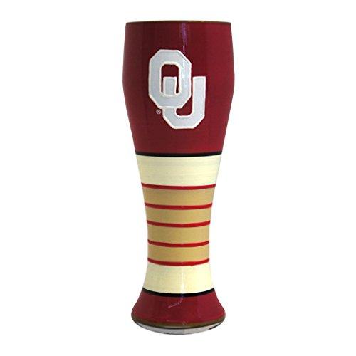 NCAA Oklahoma Sooners Artisan Pilsner Glass, 23-ounce (Ncaa Hand Painted Glass Art)