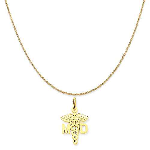 Mireval 14k Yellow Gold M.D. Caduceus Charm on a 14K Yellow Gold Rope Chain Necklace, 16