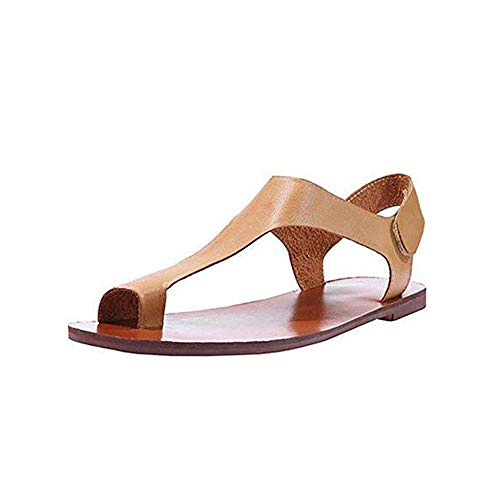 TnaIolral Women Sandals Ankle Strap Roman Flat Clip Toe Shoes Flat (Khaki, -