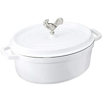 Staub 1123102 Cast Iron Coq au Vin Cocotte, 5.75-quart, White