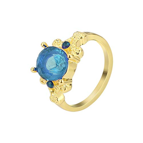 XEDUO Fashion Jewelry Yellow Gold Filled Round Blue Sapphire Women