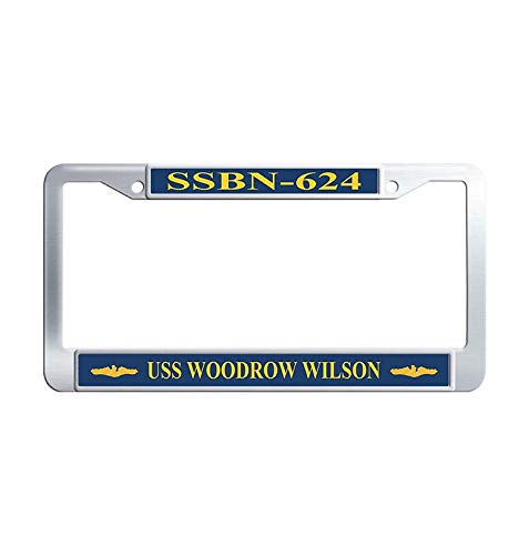Nuoousol Stainless Steel License Frame car, Retro USS Admiral W. L. Capps AP-121 Metal Waterproof Car License Plate Holder with Bolts Washer Caps for US Standard