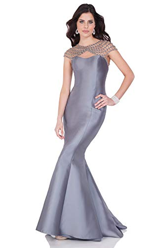 Terani Couture Beaded Shoulder and Back Trumpet Dress