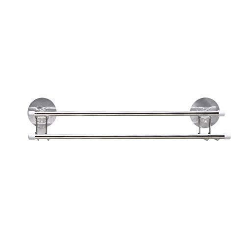 Luoshangqing Stainless Steel Double Bar Towel Rack Creative Magic Non-Marking Surface Bath Towel, Rack, Stainless Steel (Color : Double PoleWall Mounted50cm)