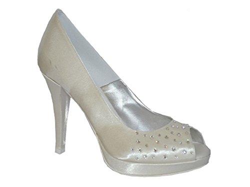 MELLUSO - Zapatos de vestir de Satén para mujer Hueso blanco perla (ral 1013) 15 AVORIO SPOSA