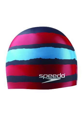 Stretch Speedo Cap (Speedo Silicone 'Flash Forward' Swim Cap, Navy/Red)