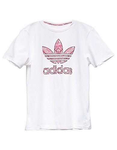 adidas Originals Kids Girl's Tee (Little Kids/Big Kids) White/Multicolor Small