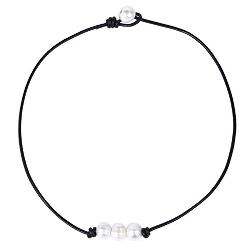 Bonnie Leather Choker Genuine Leather 3 White Pearls Cord Knotted Choker Necklace Handmade Jewelry for Women (Black) (Nice White Pearl Necklace)