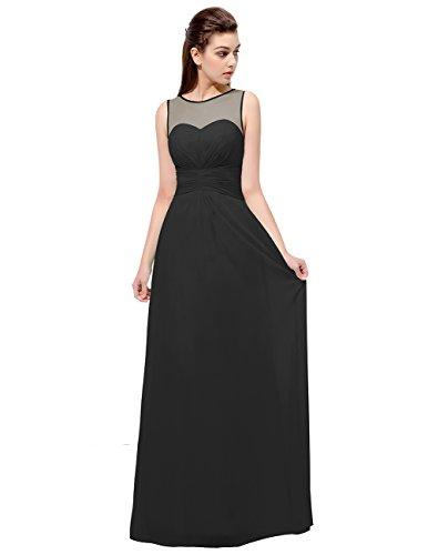 Dresstells®Vestido Largo De Gasa Sin Mangas Semitransparente Vestido De Fiesta Boda Madrina Negro