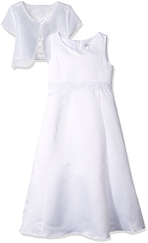 2pc a-Line Dress with Embroidered and Beaded Waistband, White, 7 (Angel Communion Dresses)
