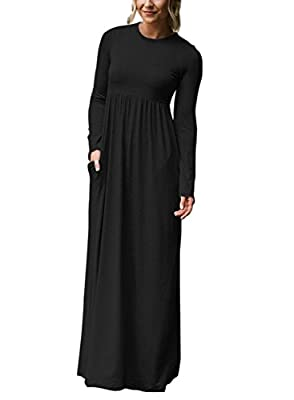 Dearlovers Women Long Sleeve Causal Plain Loose Maxi Pocket Dress