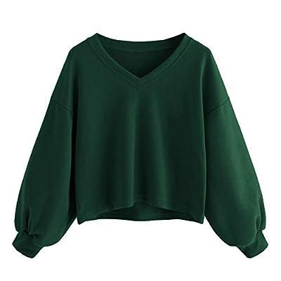 iDWZA Women Pure Color Cute Drop Shoulder Lantern Sleeve Sweatshirt Pullover Top