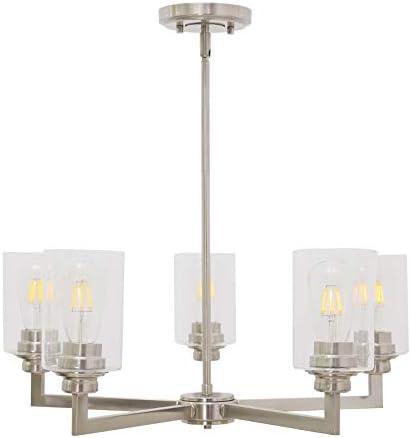 VINLUZ 5-Light Modern Chandeliers Dining Room Lighting Fixtures Brushed Nickel Finished