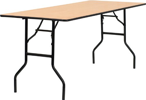 Flash Furniture 30'' x 72'' Rectangular Wood Folding Banquet Table with Clear Coated Finished Top by Flash Furniture