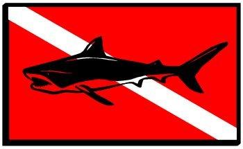Shark Dive Flag Sticker Decal (Dive Flag Shark Sticker)
