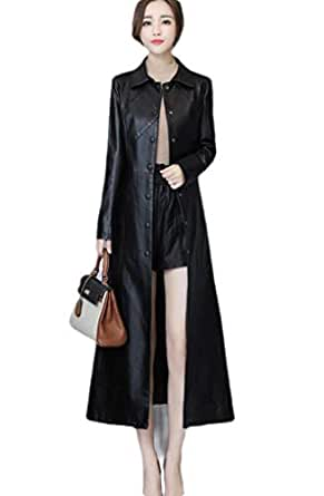 neveraway Women Casual Pu Leather Oversized Wrap Coat Buckle Long Trench Coat Black 2XL
