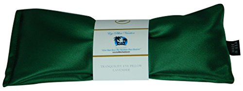 Contour Spa Pillow (Lavender Eye Pillow - Migraine, Stress & Anxiety Relief - #1 Stress Relief Gifts For Women - Made In The USA,, Organic Flax Seed Filled! ON SALE! (Emerald Green - Ultra Silky Satin))