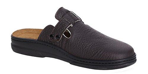 Algemare Herren Clog Wechselfußbett Leder in Olivengerbung Herstellung in Deutschland 7935_4673, Größe:43