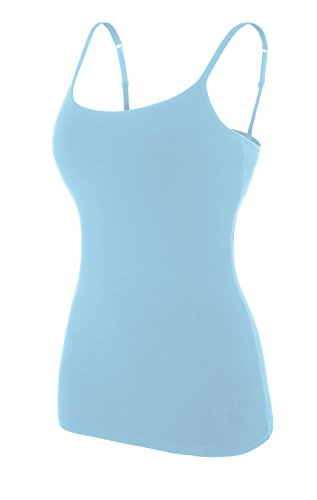 37ef0d0c85ef78 ATTRACO Women s Cotton Camisole Shelf Bra Spaghetti Straps Tank Top ...