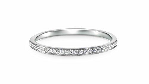 14k White Gold Half Band Natural Diamond Wedding Anniversary Ring (1/10 cttw, G-H Color, I1-I2 Clarity) (Size 5) (Diamond Wedding Rings White Gold)